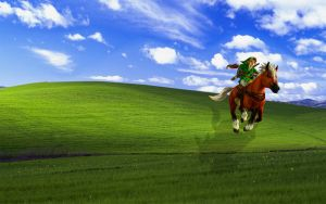 Link riding Epona Bliss Parody Wallpaper by Samii-Doll