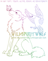 Wolf Raven Butterfly Sketch Commission by WildSpiritWolf