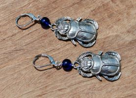 Scarab Beetle Earrings by kittykat01