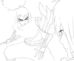 Yasuo/Riven - WIP Lineart by Z3LUS