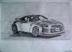 Nissan GTR Drawing by ThomasParker