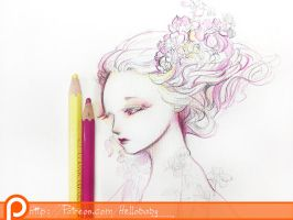 Floral Girl Wallpaper by Hellobaby