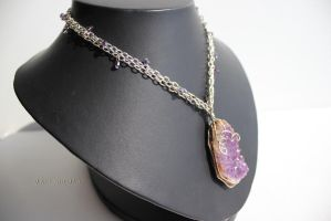 Magic of the night. Necklace with big raw amethyst by fion-fon-tier