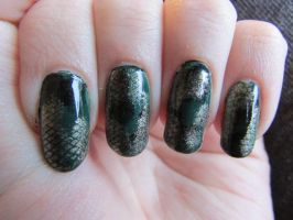 Snakeskin/Medusa Nails by QueenAliceOfAwesome
