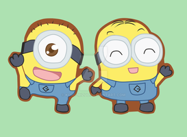 Minions Dave And Carl Keychains by Kuro-Mizuo