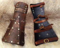 New Apocalypse Antique Simple Bracers by SonsOfPlunderLeather