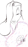 Jessica Rabbit - Monochrome w/Colored Fur Coat by KeeBlaydMastr