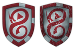 Basic iron shield prop design (Red) by OmgDragons