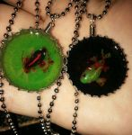 Zombie Koi Bottlecap Resin Necklaces by ShadyDarkGirl
