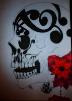 DRAWING SKULL AND FLOWER by JASAISDEATH