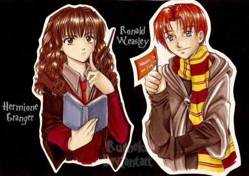 Hermione and Ron by Rusneko