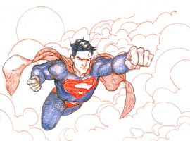 Superman in the Clouds by peetietang