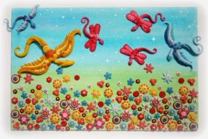 colourful tiny dragons and a field of clay flowers by bgerr