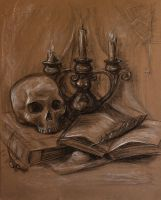 Still Life With Skull And Candlestick by mary-petroff