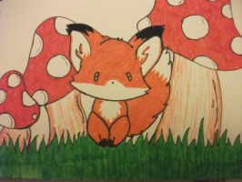 Fox and Mushrooms by TheJinMu