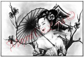 Commission #8: Geisha Tattoo. by pensierimorti