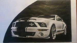 ford mustang shelby gt500 drawing by zoky88