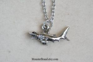 Tiny Shark Necklace by foowahu-etsy