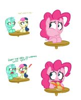 Pinkie isn't very good at eating in public. by Elslowmo