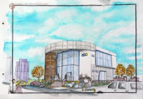 Contemporary Bank Design in Watercolor by sabrelupe