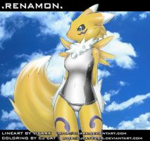 Renamon in Monica swimwear BD by cjcat2266