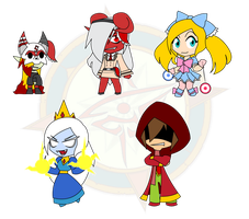 Assorted Chibis - AU Demons and Evil by Dragon-FangX