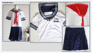 Deep Blue And White Short Sleeves School Uniform by miccostumes