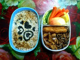 anchovy usagi ringo oatmeal bento by plainordinary1