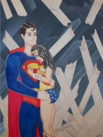Superman and Wonder Woman in Fortress of Solitude by JokerHarley2345
