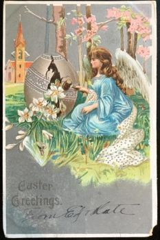 1907 Postcard - Angel Opening Easter Egg by KarRedRoses
