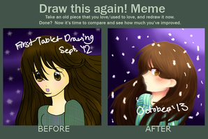 Draw This Again Meme - Now VS First Tablet Drawing by MeowiiRisu