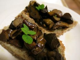 Wild mushrooms on home baked bread by curelom
