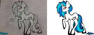 Vinyl Scratch Drawing Vector Comparison by PlanetaryPenguin