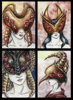 ATCs: Dark Masked Things by Athalour