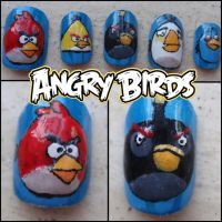 angry birds fake nails by Ninails