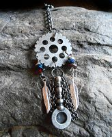 Metal Steampunk Dream Catcher Keychain by random-wish