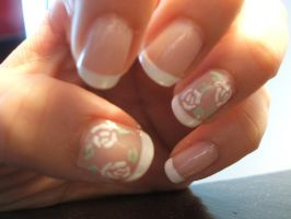 French Tips with Roses by lettym
