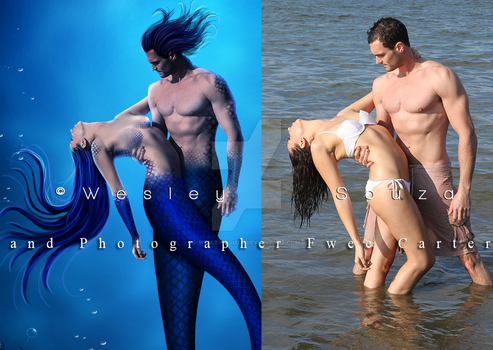 The Love of Mermaids - before and after by Wesley-Souza