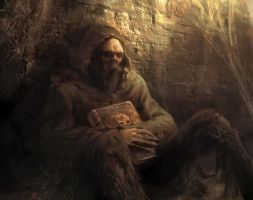 Corpse and book by Manzanedo