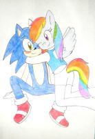Sonic y rainbow dash by kary22