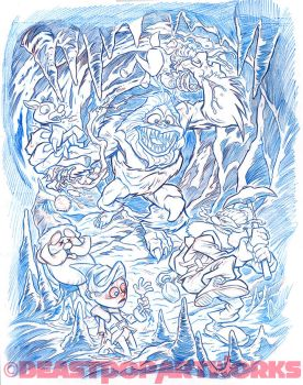 ABOMINABLE SNOW MONSTER MASSACRE pencils by pop-monkey