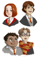 HP AU: The kids by kemiobsesses