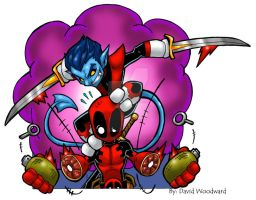 Deadpool vs Nightcrawler by badgerlordstudios