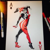 Harley Quinn Playing Card Sketch by Ozymandy-Kes