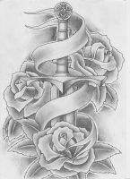 Sword and Roses Tattoo by Keepermilio