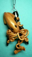 Golden Squid on Black Coral by BlackMagdalena