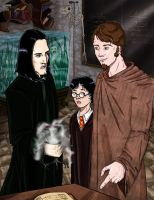 Remus, Snape, and Harry by cathybytes