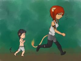 DAMMED - Kagacub going hunting with MamaLion by huina