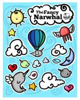 The Narwhal Flight Sticker Sheet by aunjuli