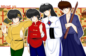 Ranma onehalf Boys by AngieSan